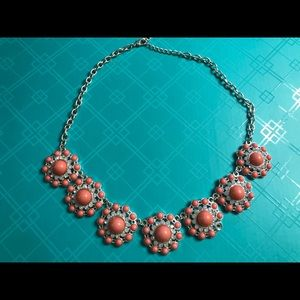 Coral and Silver Fashion Necklace